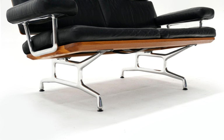 Aluminum 2 Seat Sofa Settee by Charles and Ray Eames, Solid Walnut and Black Leather