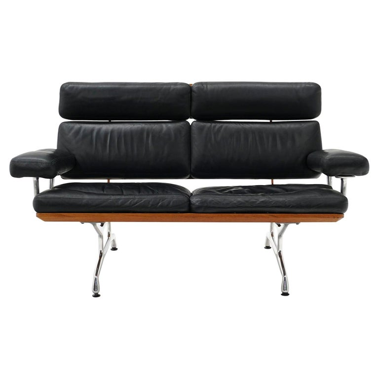 2 Seat Sofa Settee by Charles and Ray Eames, Solid Walnut and Black Leather