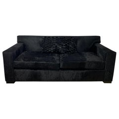2-Seat Sofa Upholstered in Black Cow-Hide Leather by Cain Modern