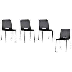 4-Set Dietiker Alta, Modern Wood Black Chairs, by Greutmann Bolzern, in Stock