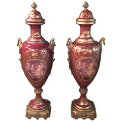 2 Sevre Ceremonial Lid Vase in the Style of the 18th Century, Paris