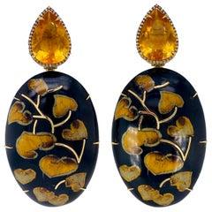 Silvia Furmanovich Citrine and Diamond Marquetry Earrings