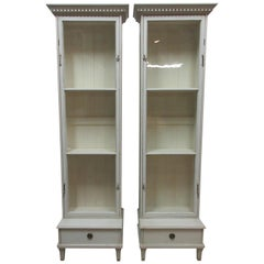 2 Single Glass Door Gustavian Display Cabinets