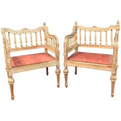 2 Slightly Smaller Armchairs in Louis Seize Style