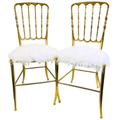 2 Solid Brass Italian Mid-Century Modern 'Chiavari' Vanity / Desk / Side Chair