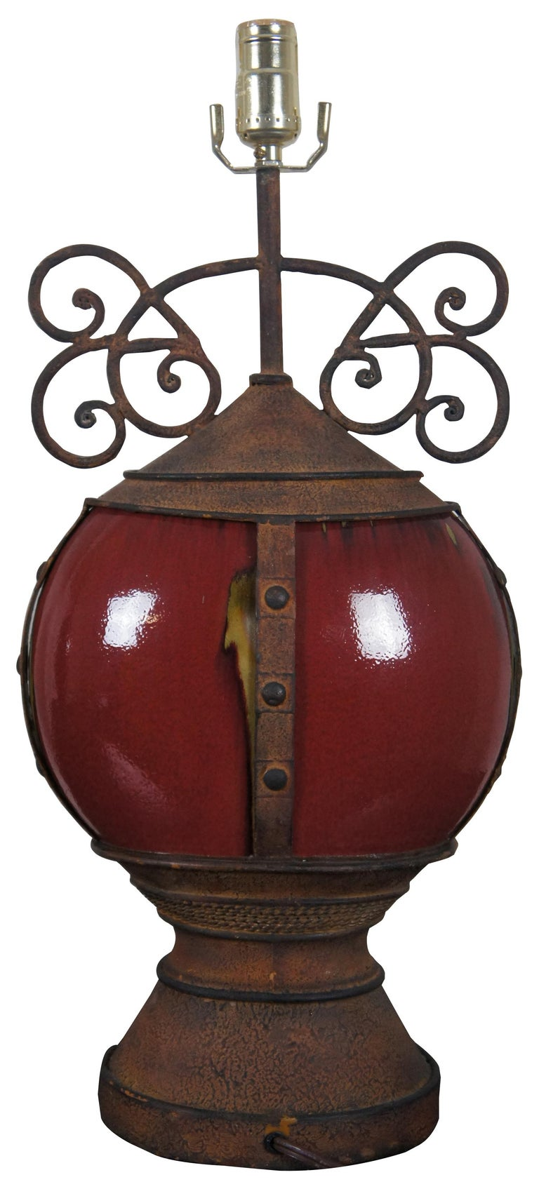 Rustic 2 Southwestern Scrolled Wrought Iron Oxblood Red Ceramic Table Lamps Light For Sale