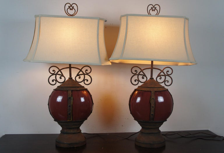 20th Century 2 Southwestern Scrolled Wrought Iron Oxblood Red Ceramic Table Lamps Light For Sale