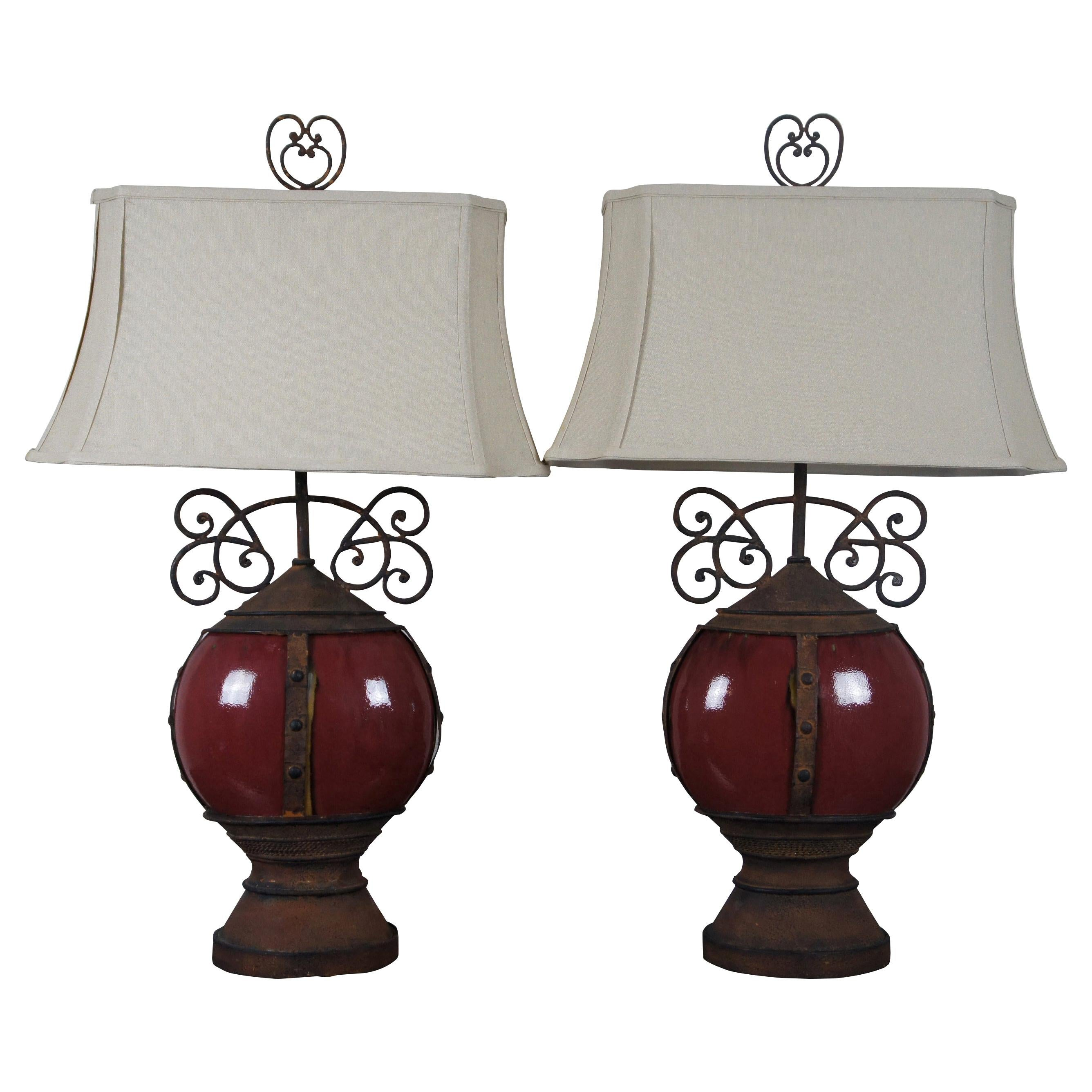 2 Southwestern Scrolled Wrought Iron Oxblood Red Ceramic Table Lamps Light