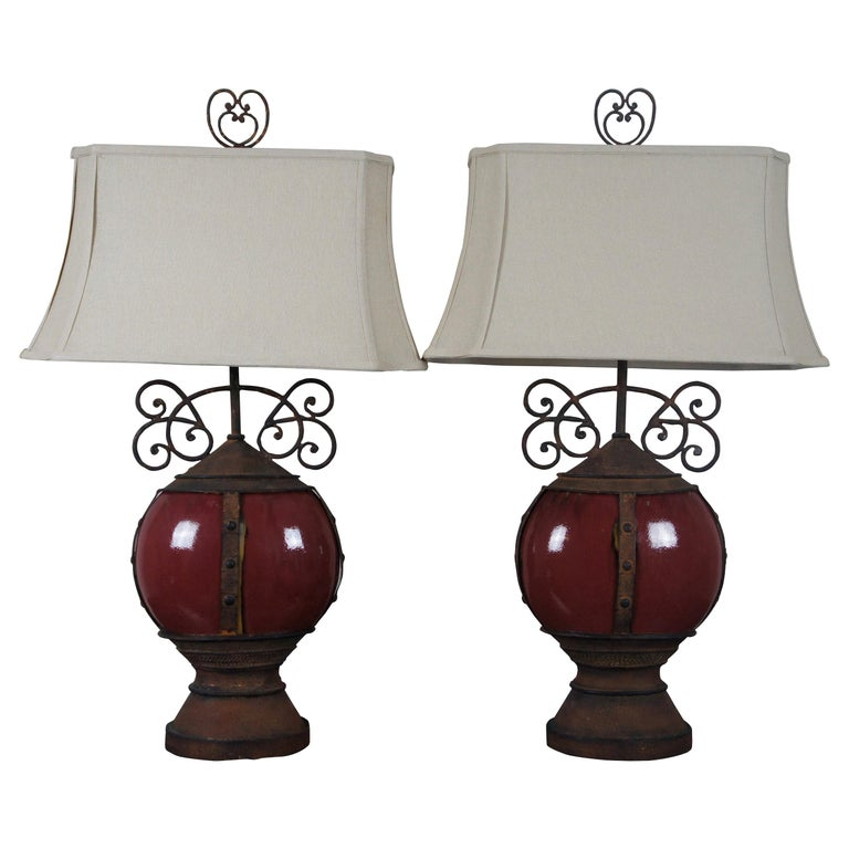 2 Southwestern Scrolled Wrought Iron Oxblood Red Ceramic Table Lamps Light For Sale