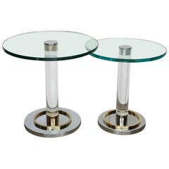 2 Stair Stepped Lucite, Glass, Brass and Chrome Charles Hollis Jones Tables