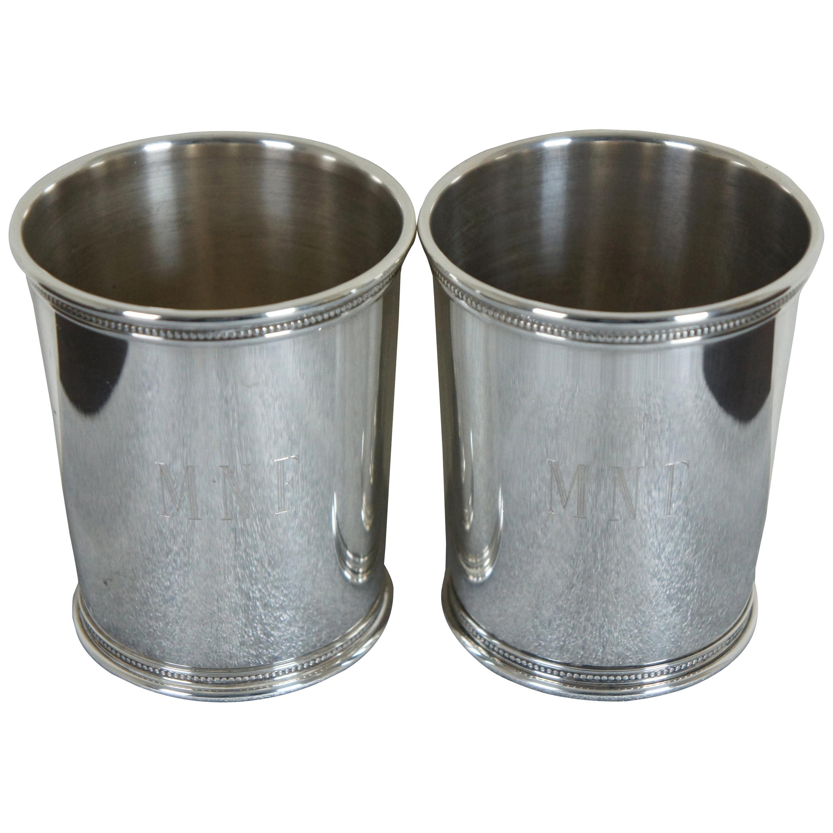 2 Sterling Silver Bill Clinton Presidential Mint Julep Cups Reed Barton WJC x253