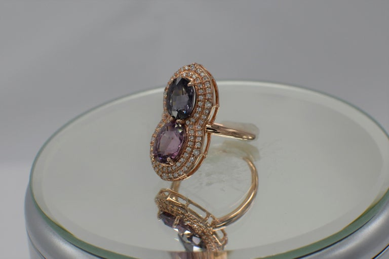 Oval Cut 2 Stone Ring Pink & Blue Cocktail Spinel Ring 14 Karat Rose Gold For Sale
