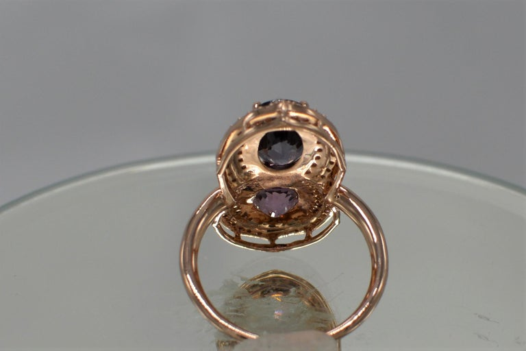 2 Stone Ring Pink & Blue Cocktail Spinel Ring 14 Karat Rose Gold In New Condition For Sale In Brooklyn, NY