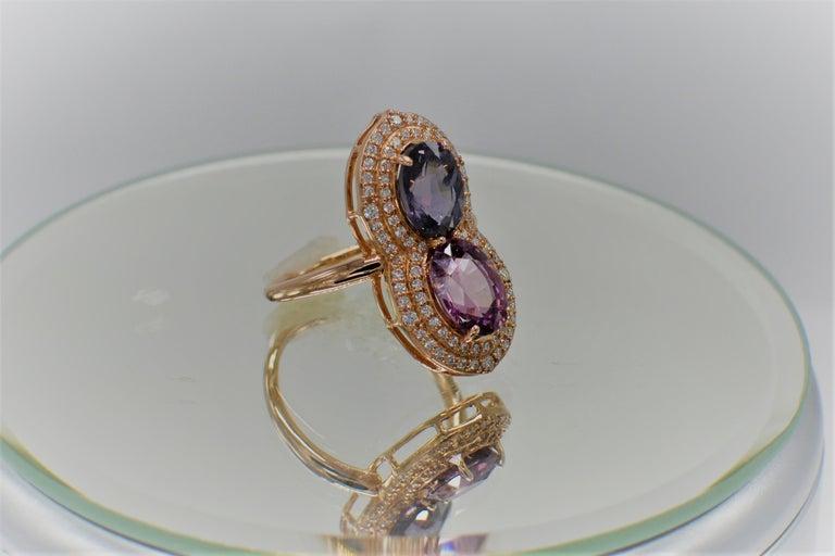Women's 2 Stone Ring Pink & Blue Cocktail Spinel Ring 14 Karat Rose Gold For Sale