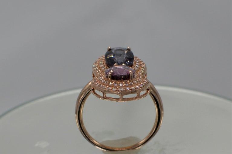 2 Stone Ring Pink & Blue Cocktail Spinel Ring 14 Karat Rose Gold For Sale 1