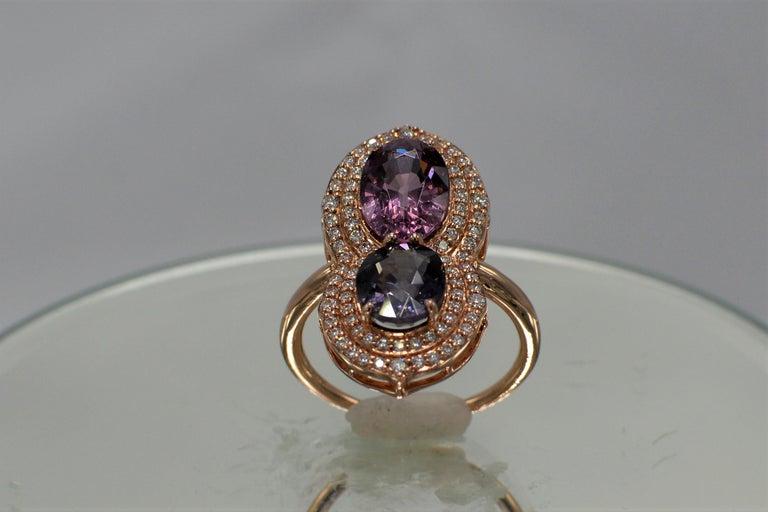 2 Stone Ring Pink & Blue Cocktail Spinel Ring 14 Karat Rose Gold For Sale 2