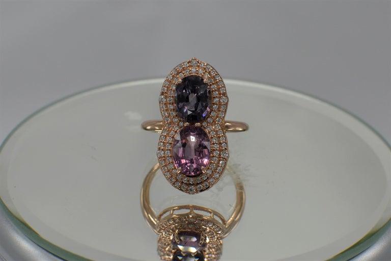 2 Stone Ring Pink & Blue Cocktail Spinel Ring 14 Karat Rose Gold For Sale 3