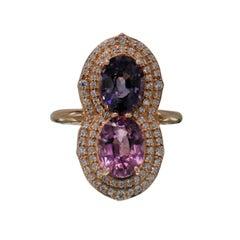 2 Stone Ring Pink & Blue Cocktail Spinel Ring 14 Karat Rose Gold