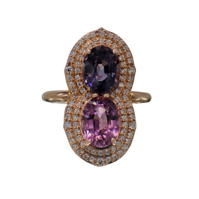 2 Stone Ring Pink & Blue Cocktail Spinel Ring 14 Karat Rose Gold For Sale