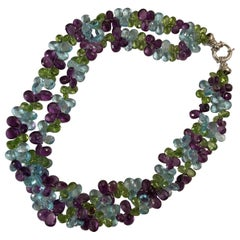 2-Strand Briolette Necklace with Blue Topaz, Peridot and Amethyst