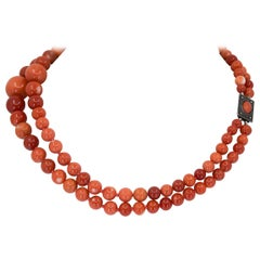 2-Strand Red Coral Necklace