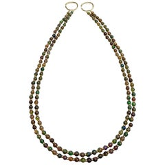 2-Strand Round Black Opal Necklace