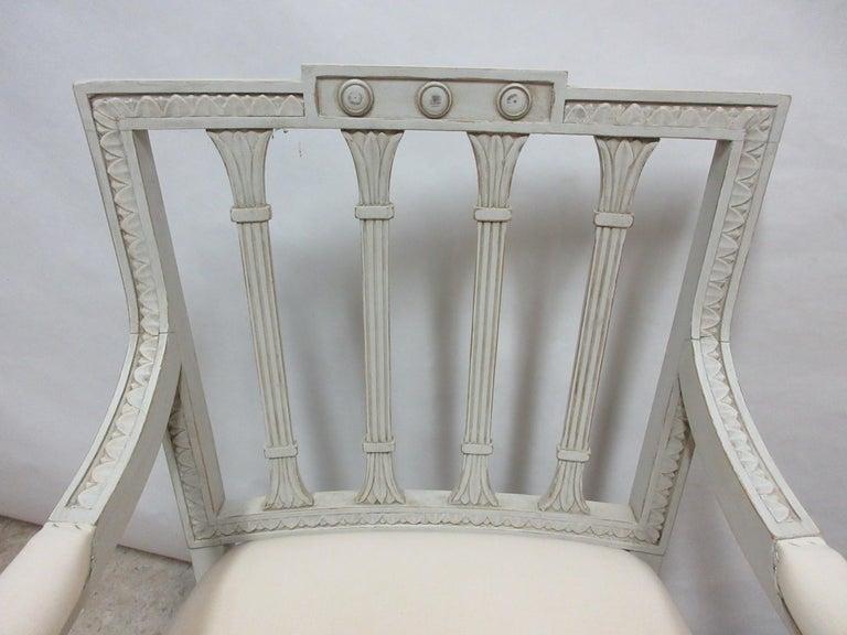 Wood 2 Swedish Gustavian Armchairs For Sale