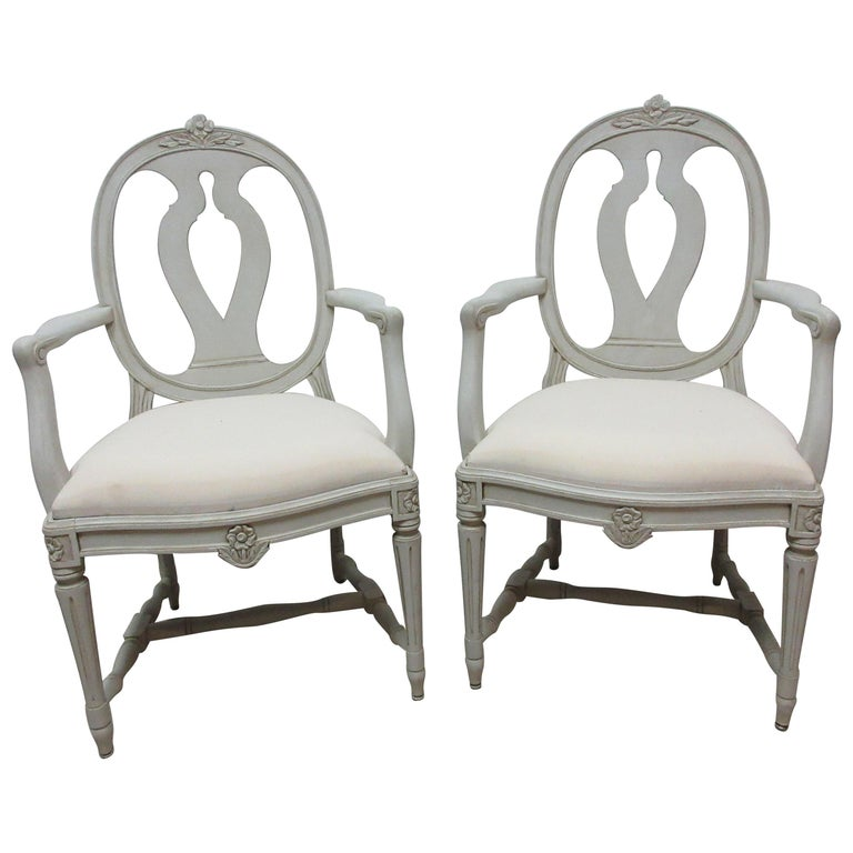 2 Swedish Gustavian Armchairs For Sale