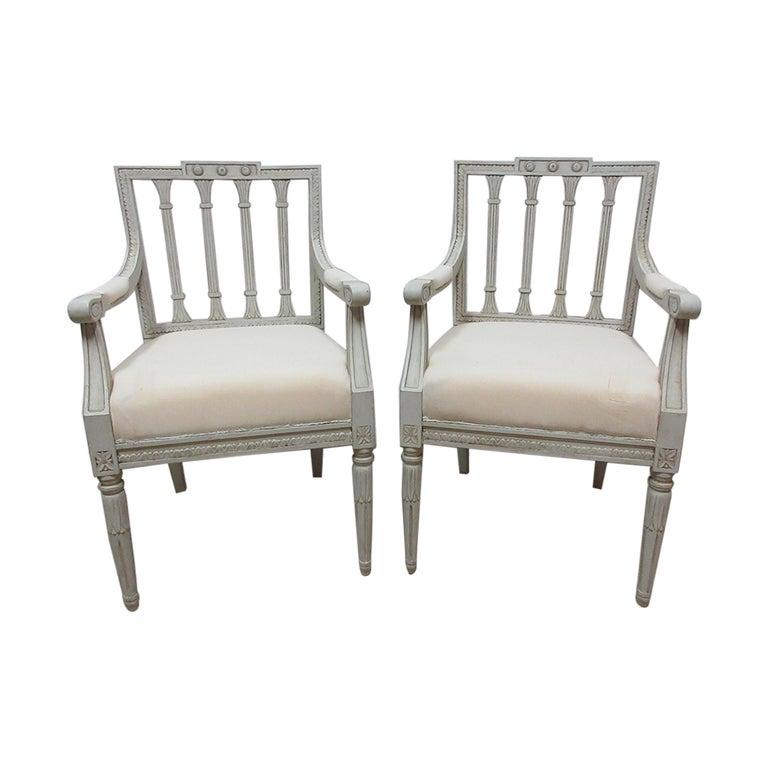 2 Swedish Gustavian Armchairs For Sale