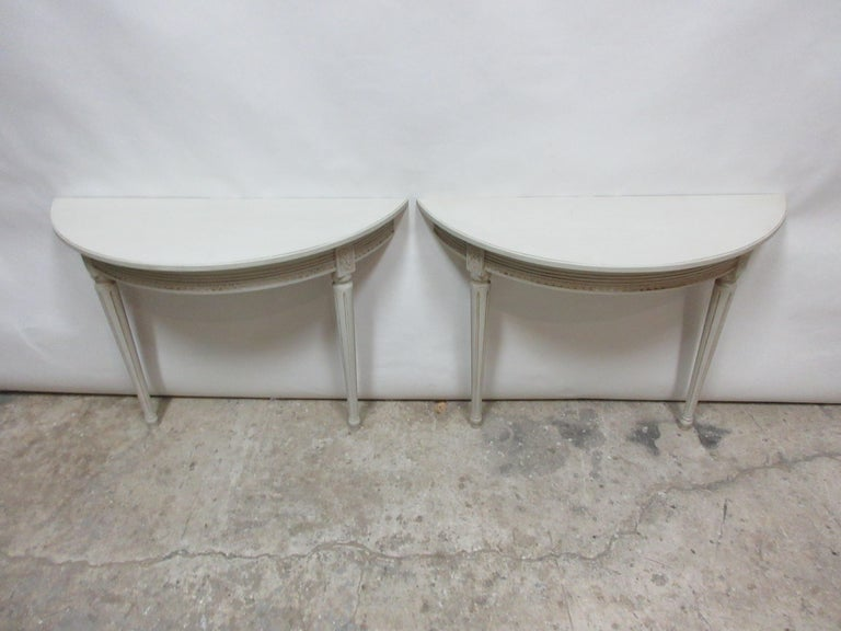 This is a set of 2 Swedish Gustavian console tables. Thave been restored and repainted with Milk Paints