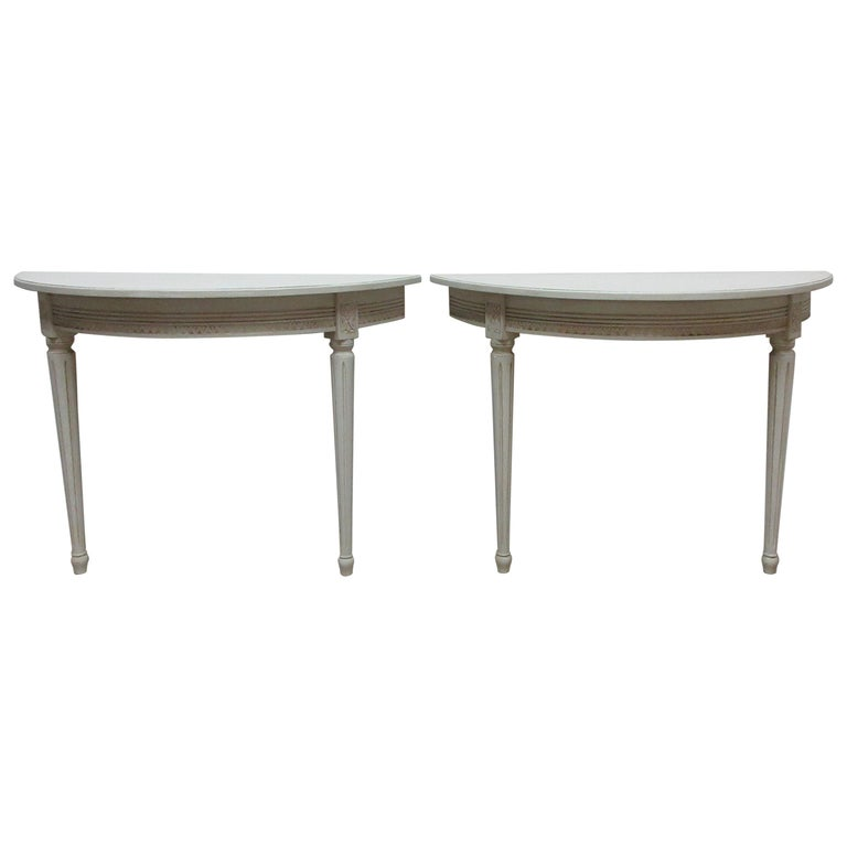 2 Swedish Gustavian Console Tables For Sale