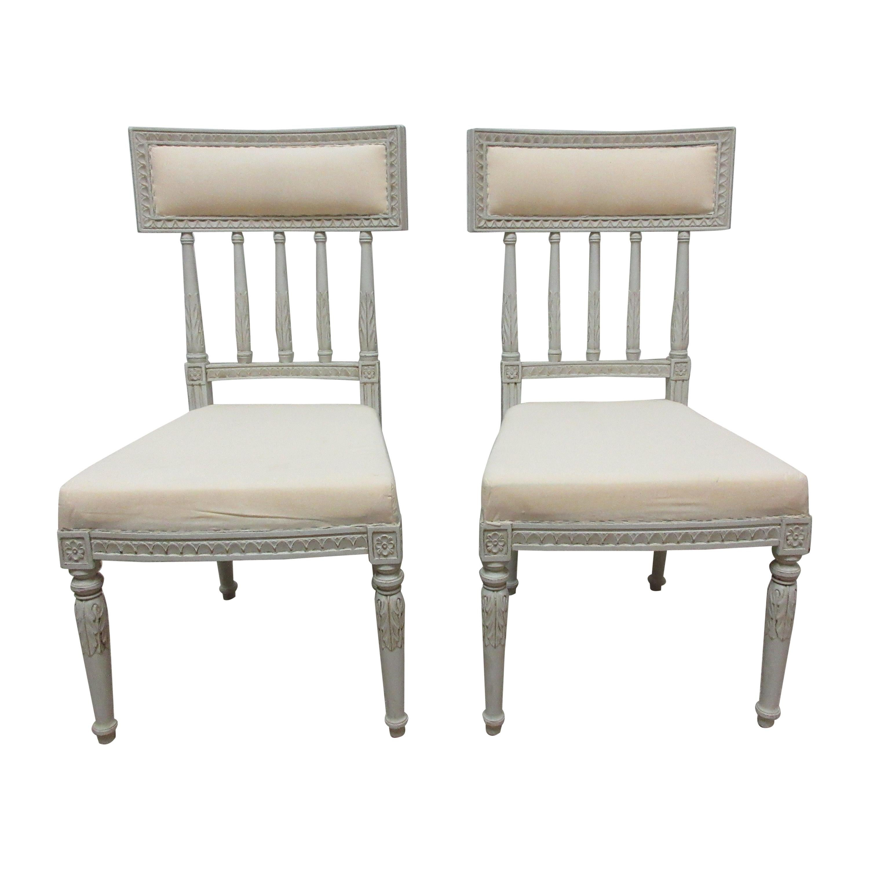 2 Swedish Gustavian Side Chairs