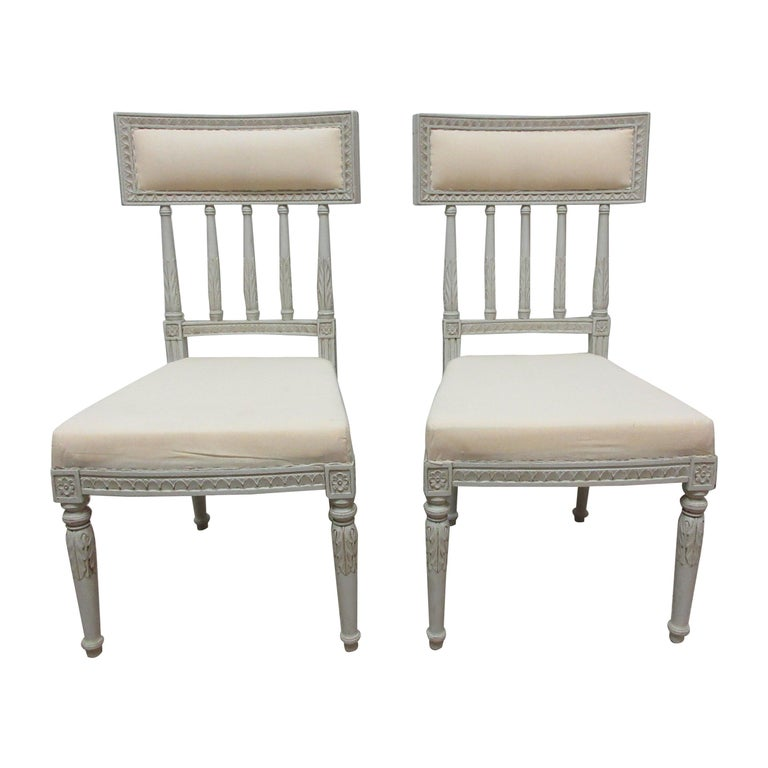 2 Swedish Gustavian Side Chairs For Sale
