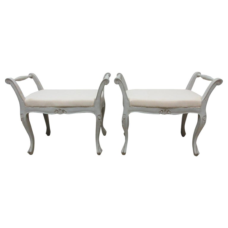 2 Swedish Rococo Stools For Sale
