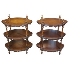 2 Theodore Alexander 3-Tier Leather Turtle Top & Nailhead Accent Side End Tables