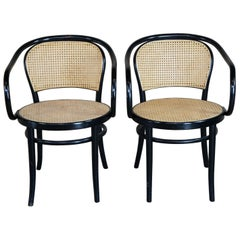 2 Thonet Italian Black Bentwood Cafe Bistro Arm Chairs Caned Parlor Dining