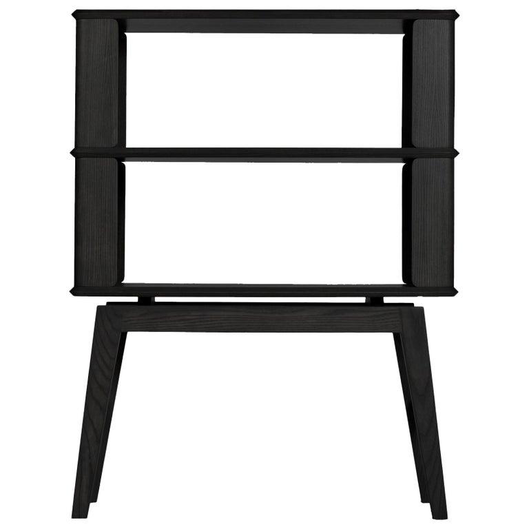 2-Tier Bookshelf/Storage, Ashwood with Black Stain by Debra Folz For Sale