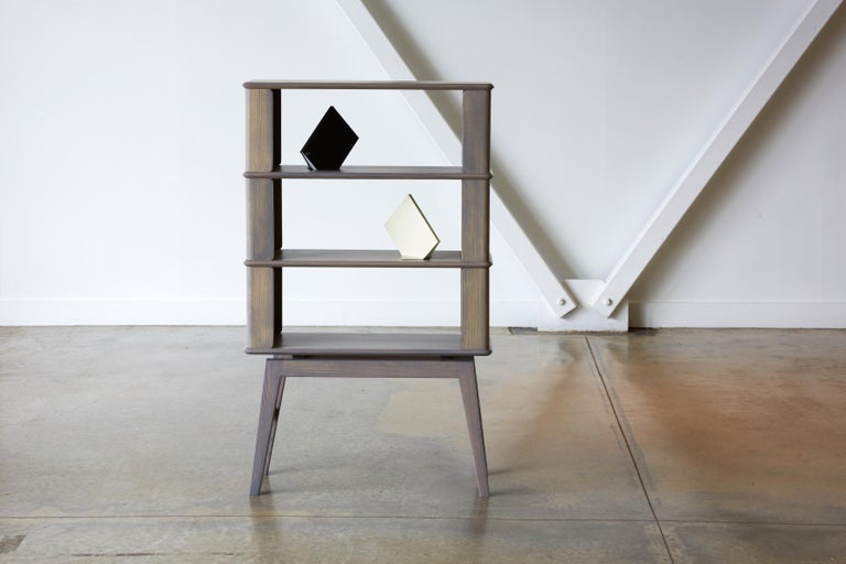 North American 2-Tier Bookshelf/Storage, Ashwood with Gray Stain by Debra Folz For Sale