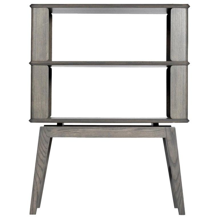 2-Tier Bookshelf/Storage, Ashwood with Gray Stain by Debra Folz For Sale