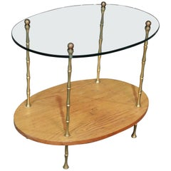 2-Tier Faux Bamboo Glass Top Table Attributed to Baguès