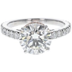 2-Tone Engagement Ring with 2.42 Carat Center Stone and Diamond Pave (Certified)