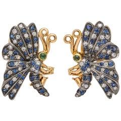 2-Tone Sapphire, Diamond, and Tsavorite 'Green Garnet' Butterfly Earrings