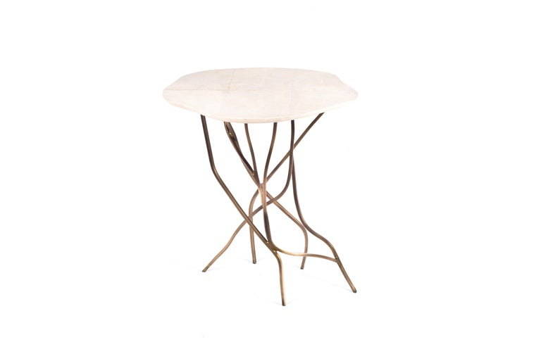 Art Deco 2-Top Acacia Side Table in Shagreen, Shell & Bronze-Patina Brass by R&Y Augousti For Sale