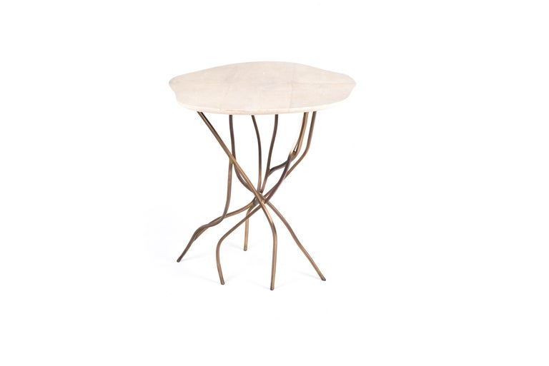 French 2-Top Acacia Side Table in Shagreen, Shell & Bronze-Patina Brass by R&Y Augousti For Sale