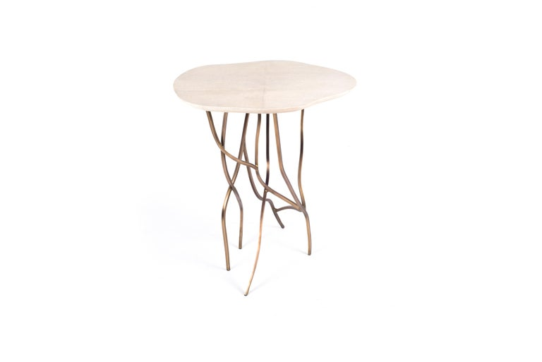 Hand-Crafted 2-Top Acacia Side Table in Shagreen, Shell & Bronze-Patina Brass by R&Y Augousti For Sale