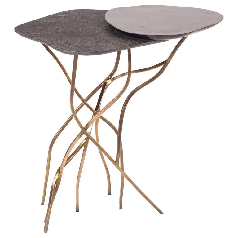 2-Top Acacia Side Table in Shagreen, Shell & Bronze-Patina Brass by R&Y Augousti For Sale