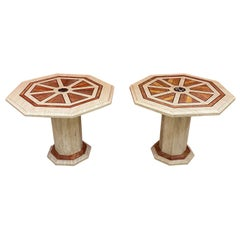 2 Travertine Side Tables, with Brass and Marble Inlay, circa 1970