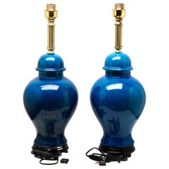 2 Turquoise Glazed Large Chinese Ceramic Table Lamp with Crackle Glaze