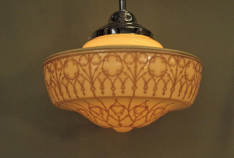 Early 20th Century 2 Very Large Custard Church Fixtures For Sale