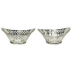 2 Very Small Dutch Silver Bonbon Baskets
